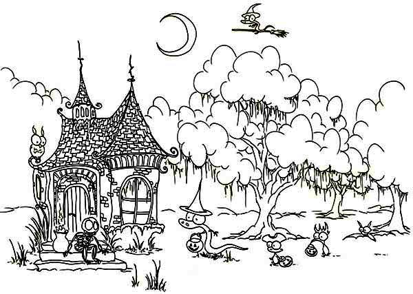 Haunted House, : Haunted House with Skeleton Coloring Page