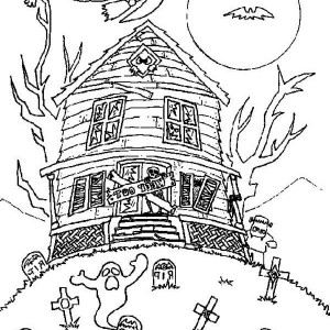 tree house coloring pages together with hideous monster house with ghost and cat in haunted house