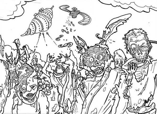 Zombie, : Hideous Zombie Coloring Page