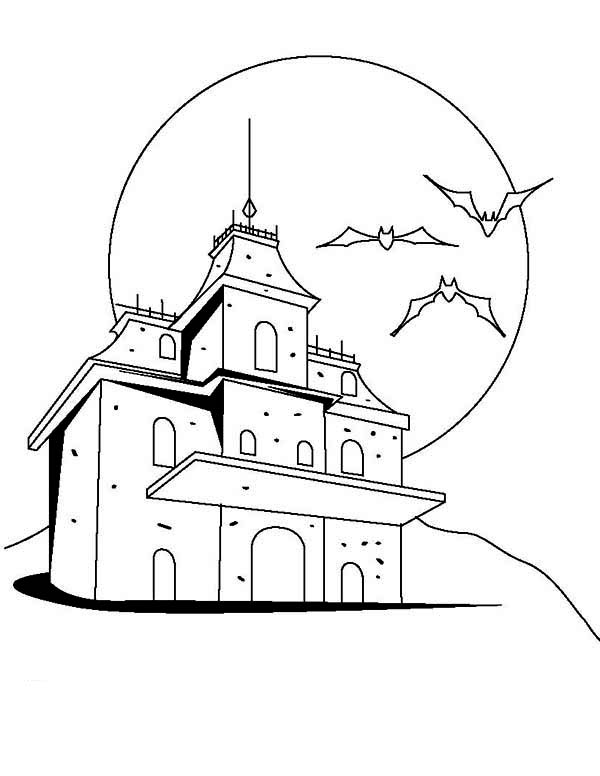 Haunted House, : Horrible Fortress in Haunted House Coloring Page