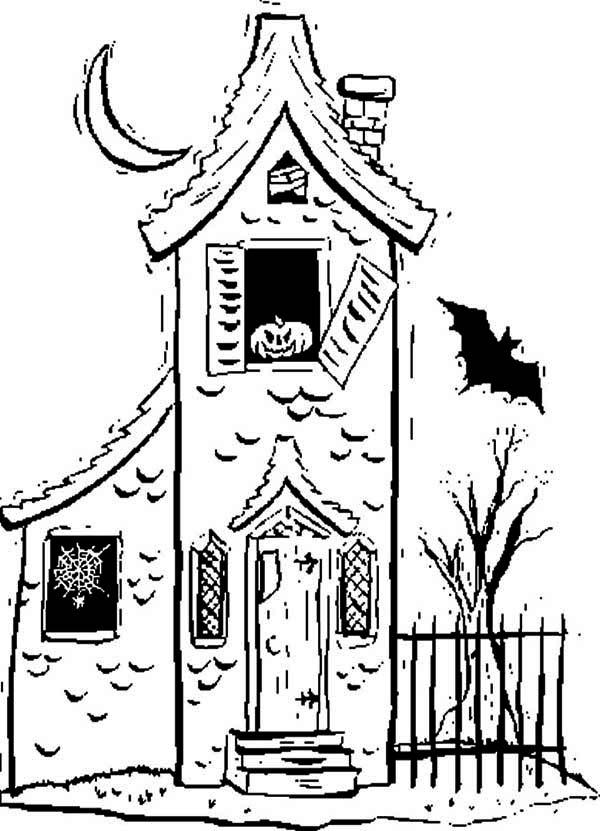 Haunted House, : Horrible Haunted House Coloring Page