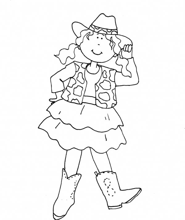 howdy cowgirl coloring page