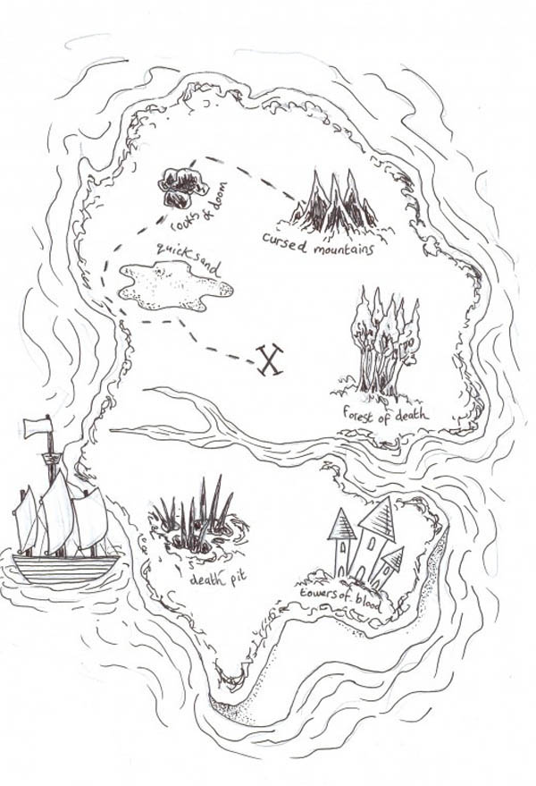 Treasure Map, : Island to Island Treasure Map Coloring Page