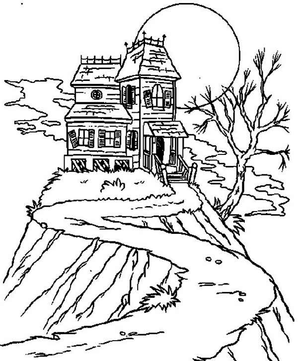 Haunted House, : Isolated Haunted House Coloring Page