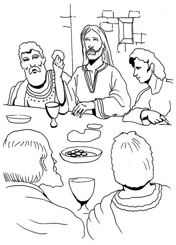 Last Supper, : Jesus Eating in the Last Supper Coloring Page