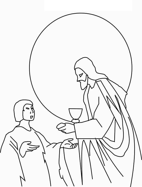 Last Supper, : Jesus Share Food to One of His Apostles in the Last Supper Coloring Page