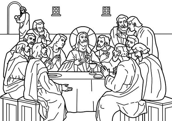 Last Supper, : Jesus Shared Dipped Bread to Judas in the Last Supper Coloring Page