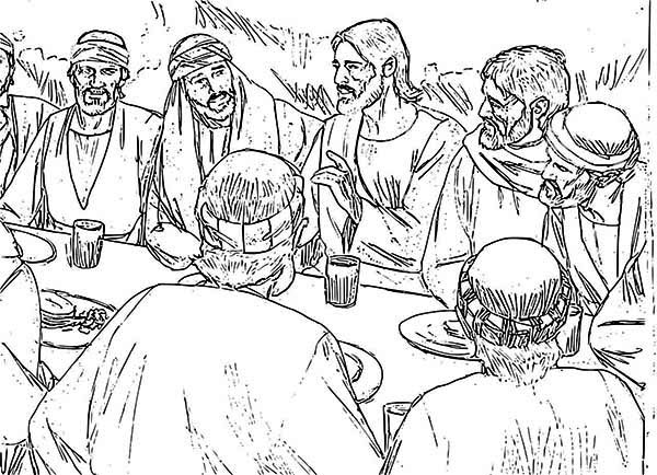 last supper jesus and apostles in the last supper coloring page