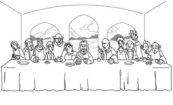 Last Supper, : Jesus and His Disciples Share a Meal in the Last Supper Coloring Page