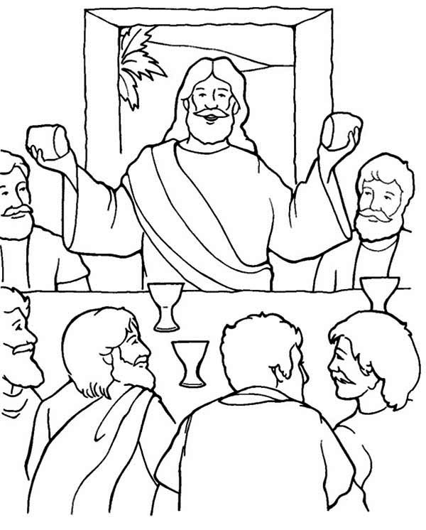 Last Supper, : Jusus Standing in the Last Supper Coloring Page