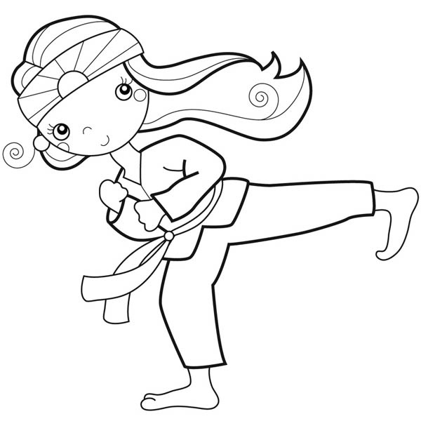 Karate Kid, : Karate Kid Doing Palm Heel Kick Coloring Page