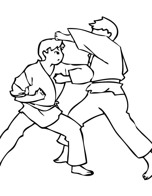 karate kid elbow strike coloring page