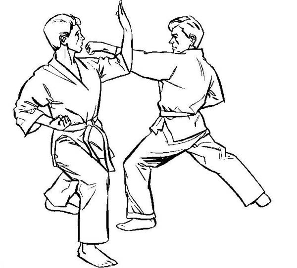 Karate Kid, : Karate Kid on Counter Attack Coloring Page