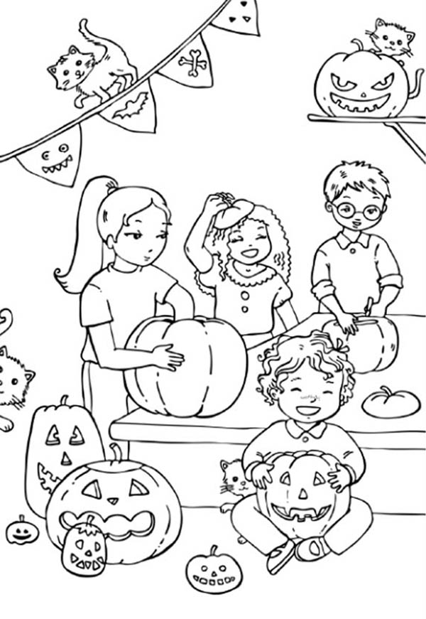 Pumpkins, : Kids Carving Pumpkins Coloring Page