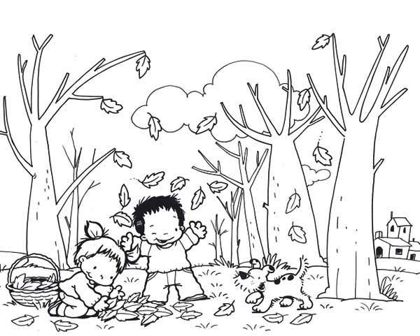 Fall Leaf, : Kids and Dog Collecting Fall Leaf Coloring Page
