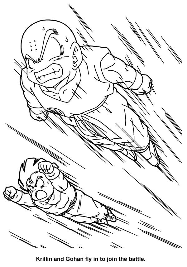 Dragon Ball Z, : Krillin and Gohan Fly to Join the Battle in Dragon Ball Z Coloring Page