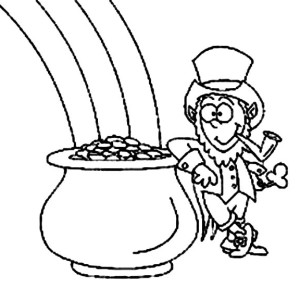 lazy leprechaun and a pot of gold coloring page - Coloring Pages Rainbow Pot Gold