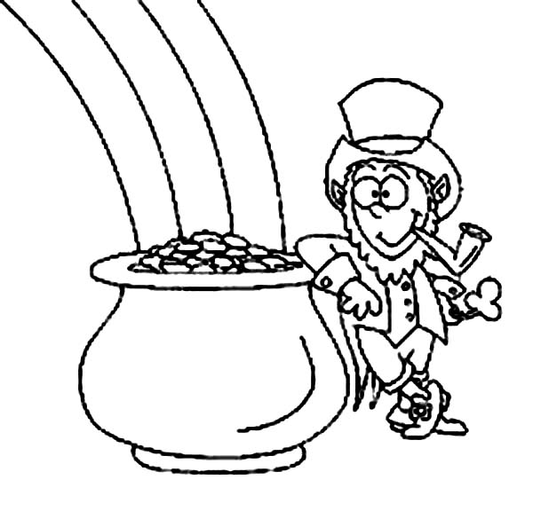 Leprechaun, : Lazy Leprechaun and a Pot of Gold Coloring Page