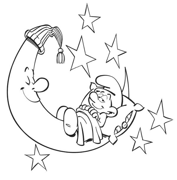 The Smurf, : Lazy Smurf Sleep with the Moon in The Smurf Coloring Page