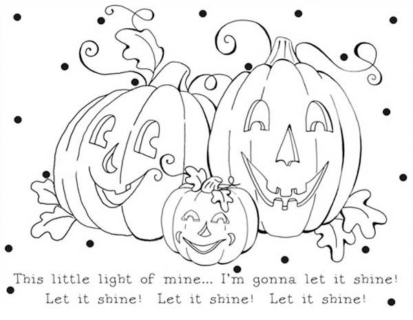 Pumpkins, : Let It Shine Pumpkins Coloring Page