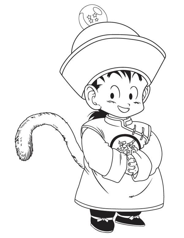 Dragon Ball Z, : Little Gohan in Dragon Ball Z Coloring Page