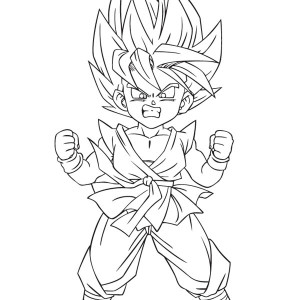 little goku super saiyan 2 form in dragon ball z coloring page - Dragon Ball Coloring Pages Goku