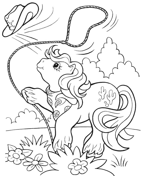 Cowgirl, : Little Horse Lassoing Cowgirl Hat Coloring Page