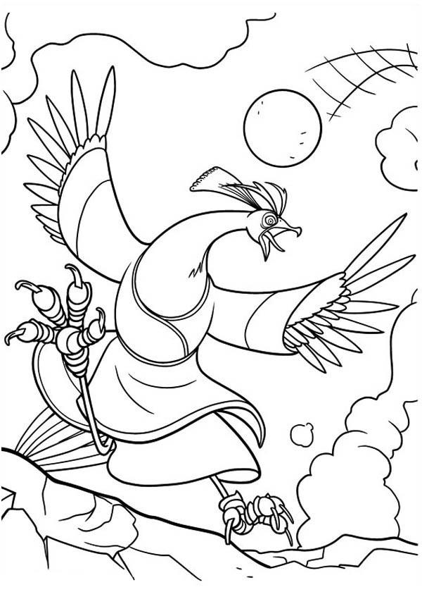 Kung Fu Panda, : Lord Shen Shot with His Own Canon in Kung Fu Panda Coloring Page