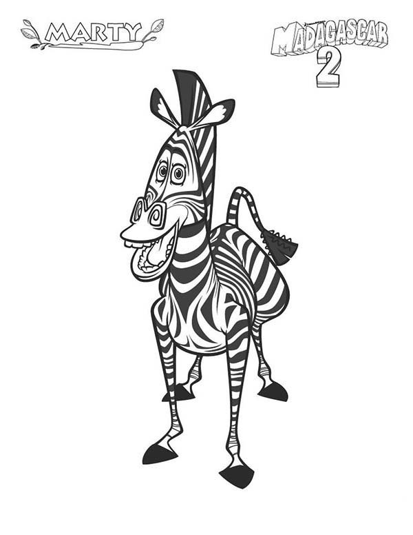Zebra, : Marty of Madagascar in Zebra Coloring Page