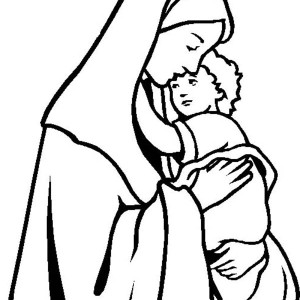 mary keep baby jesus warm coloring page