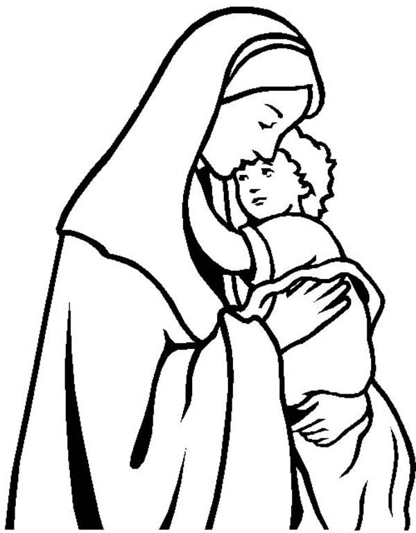 Baby Jesus, : Mary Keep Baby Jesus Warm Coloring Page