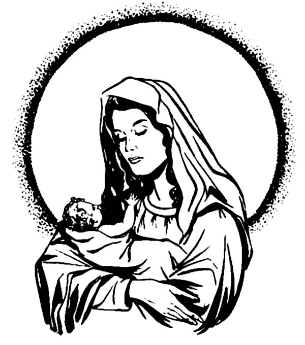 Baby Jesus, : Mary and Baby Jesus Coloring Page