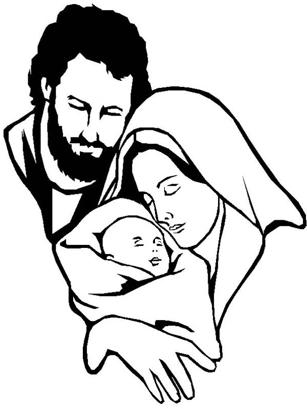 Baby Jesus, : Mary and Joseph and Baby Jesus Coloring Page