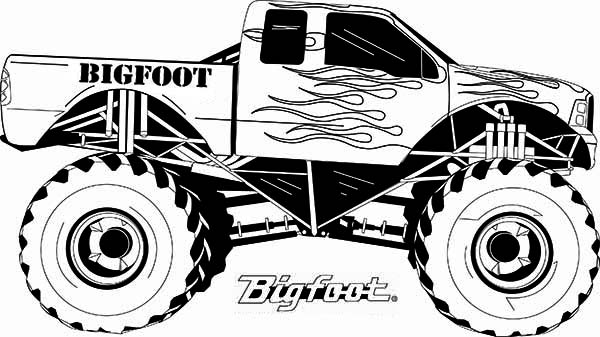 Monster Truck, : Monster Truck Bigfoot Flames Coloring Page