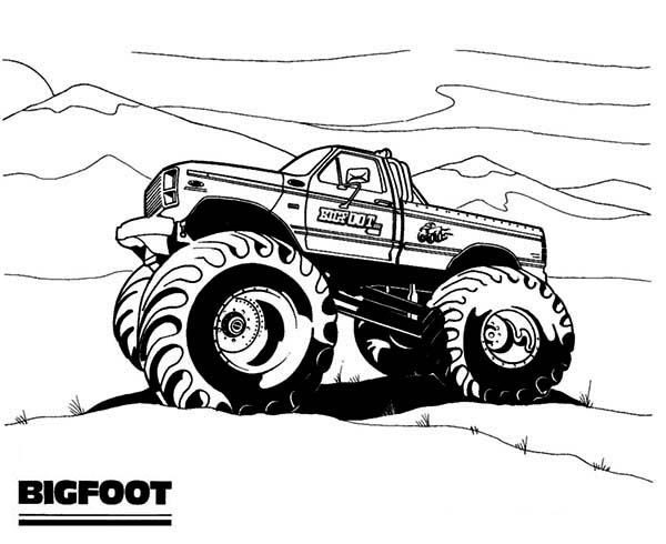 Monster Truck, : Monster Truck Bigfoot on Dessert Coloring Page