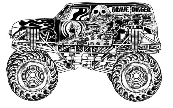 Monster Truck, : Monster Truck Grave Digger Coloring Page