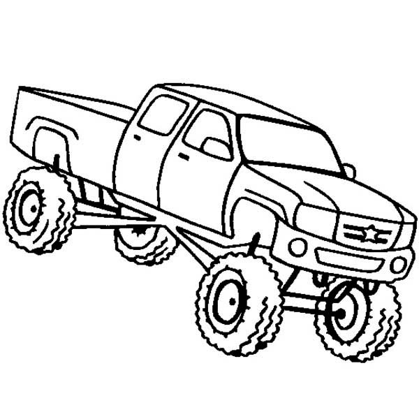 Monster Truck, : Monster Truck Higher Education School Bus Coloring Page