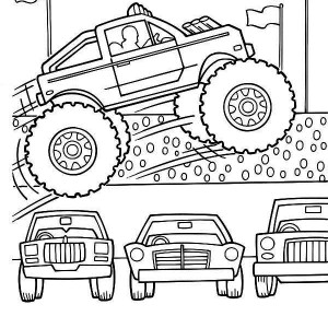 monster truck jumps over cars coloring page - Monster Truck Coloring Pages Easy