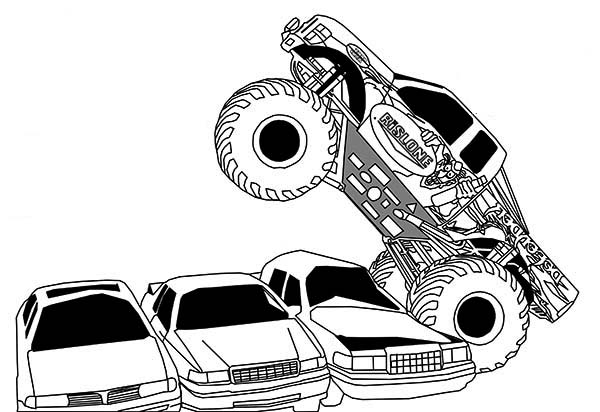 Monster Truck, : Monster Truck Running Over Cars Coloring Page