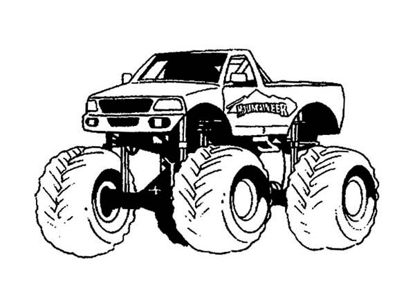 Monster Truck, : Mounteneer Monster Truck Coloring Page