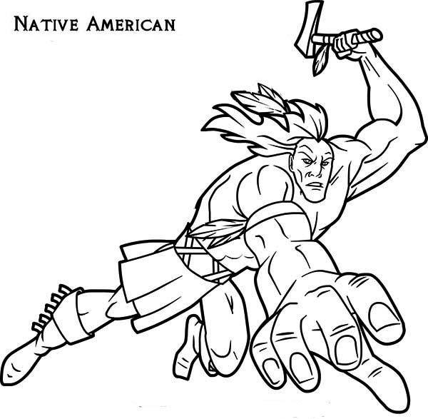 Native American, : Native American Attacking with Tomahawk Coloring Page