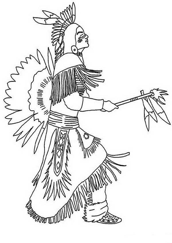 native american doing pow wow dance coloring page