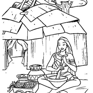native american girl cooking tamales coloring page