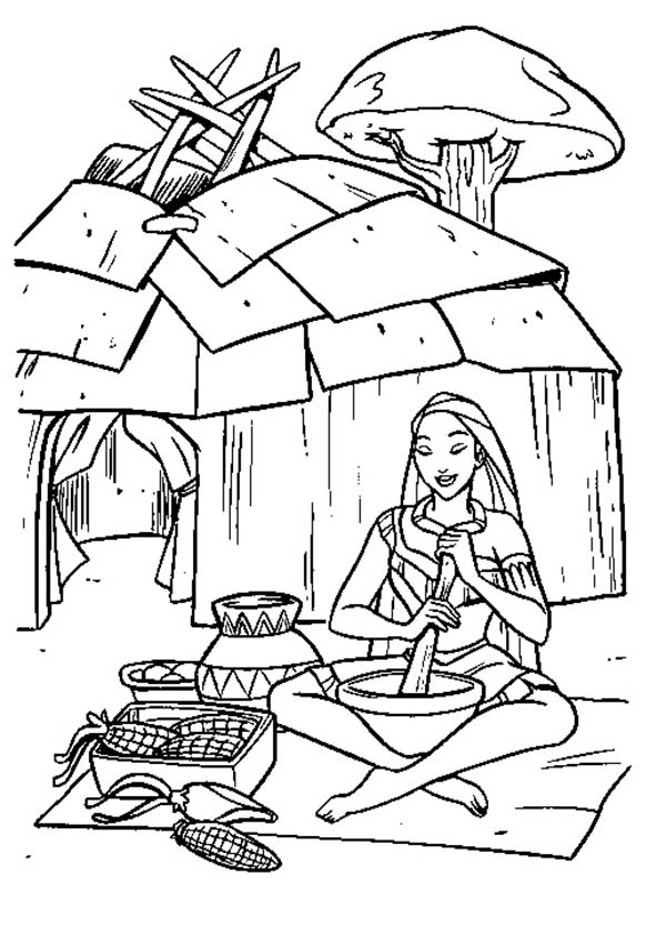 Native American, : Native American Girl Cooking Tamales Coloring Page