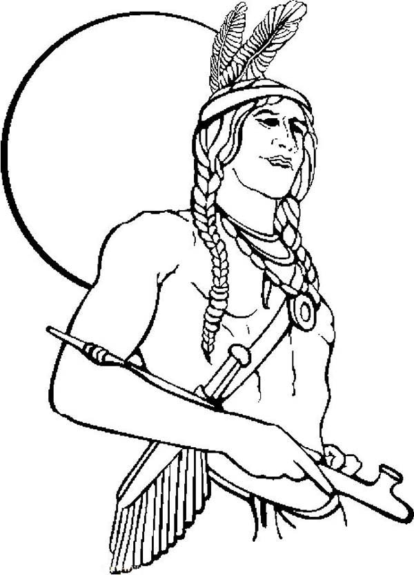 Native American, : Native American Holding a Calumet Coloring Page