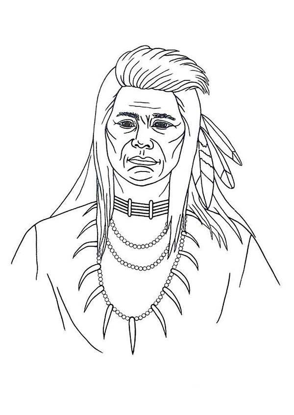 Native American, : Native American Picture Coloring Page
