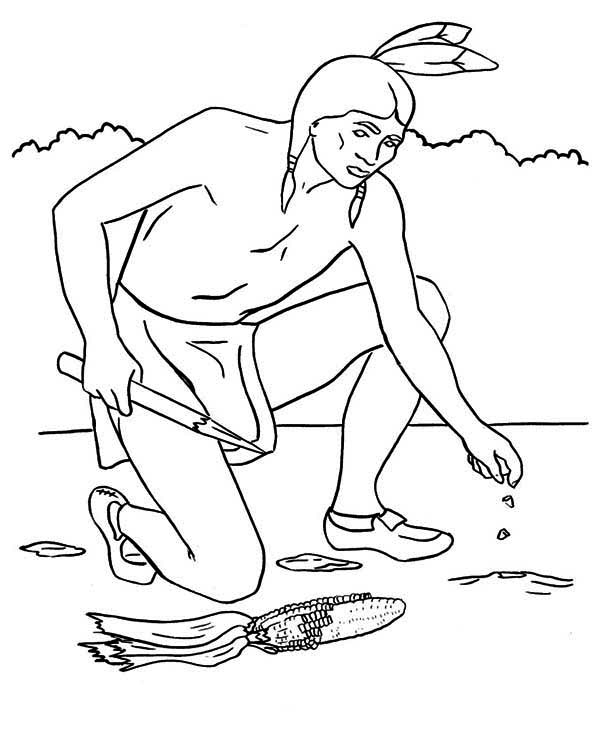 native american planting maize seed coloring page