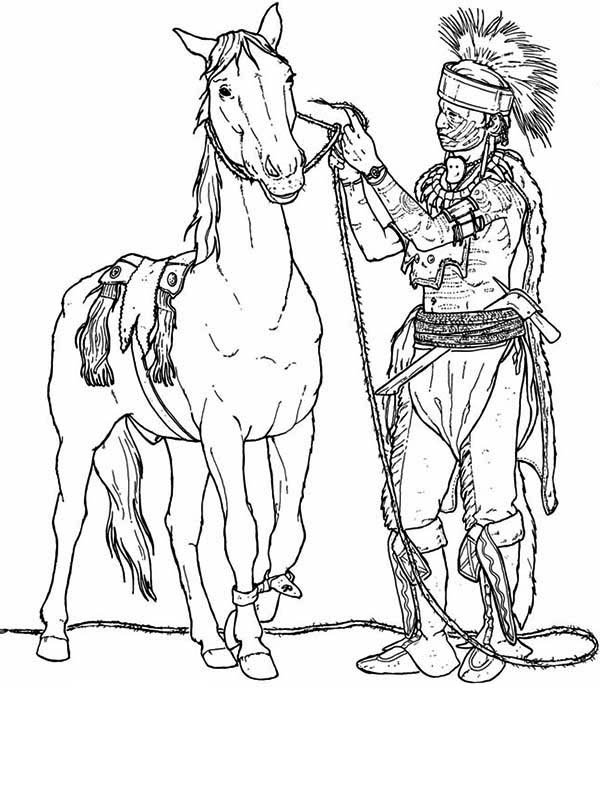 Native American, : Native American Preparing His Horse Coloring Page