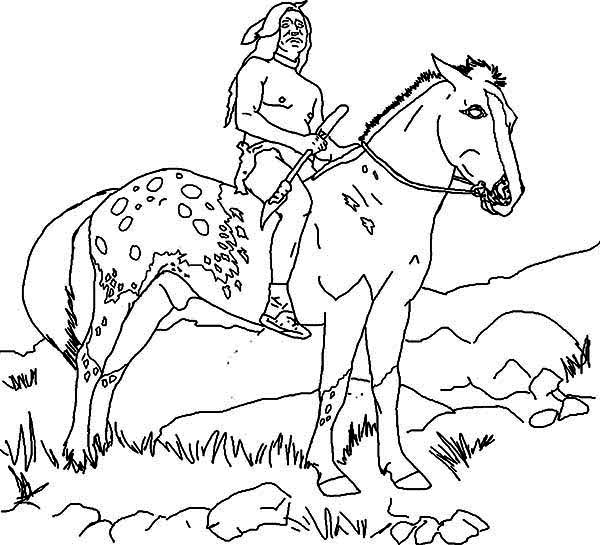 Native American, : Native American Riding a Horse Around the Tribe Coloring Page