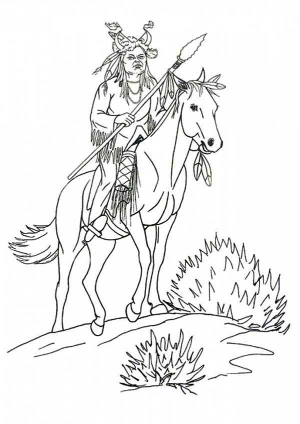Native American, : Native American Riding a Horse Coloring Page
